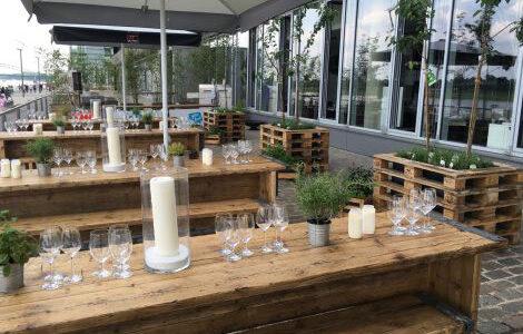 Urban Gardening Terrasse am Rhein in Köln mieten, BBQ Gartenparty